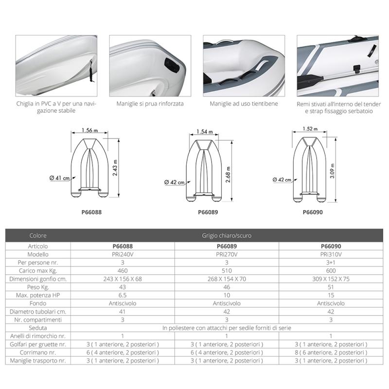 Tender Plastimo YACHT PRI 240V Grigio